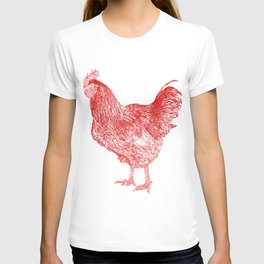 red rooster drawing, red T-shirt