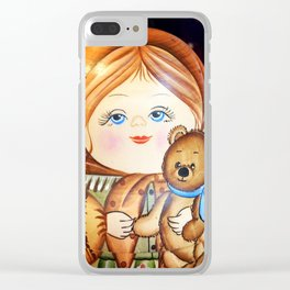 Matrioska. Little girl with teddy bear. Clear iPhone Case