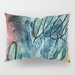 Motion: an abstract mixed media piece in muted primary colors Pillow Sham