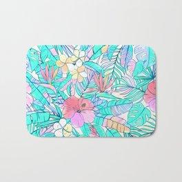 Pretty Pastel Hawaiian Hibiscus Print Bath Mat