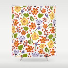 Sunshine yellow lavender orange abstract floral illustration Shower Curtain