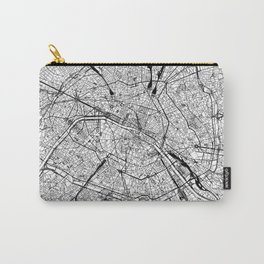 Paris White Map Carry-All Pouch