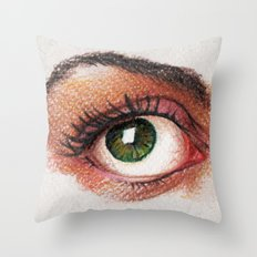 Eyes girl are looking something Throw Pillow