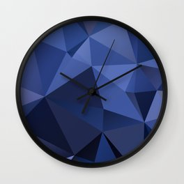 Abstract of triangles polygon in navy blue colors Wall Clock