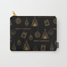 Christmas Golden pattern on black background. Carry-All Pouch