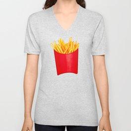Fries Pattern - White Unisex V-Neck