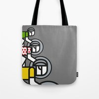 tour de france Tote Bags featuring Peloton Tour De France by sonsofwolves