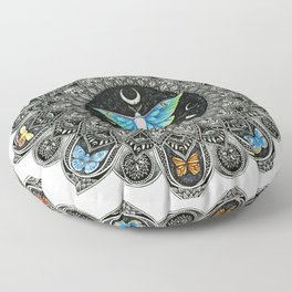 Lunar Moth Mandala Floor Pillow