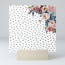 Boho Flowers and Polka Dots Mini Art Print