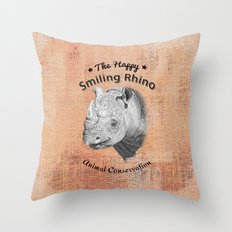 The Happy Smiling Rhino Animal Conservation Throw Pillow