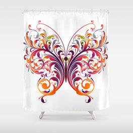 Floral Flutterby Shower Curtain