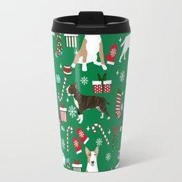 Bull Terrier christmas holiday pet pattern stockings presents dog breed gifts Travel Mug