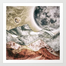 The red planet and its moon Art Print
