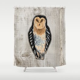 Primitive Owl Graphic Carved Wood Board Shower Curtain
