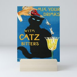 Mix Your Drinks with Catz (Cats) Bitters Aperitif Liquor Vintage Advertising Poster Mini Art Print