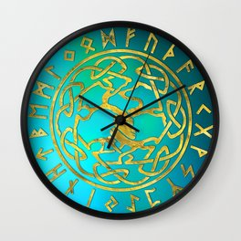 Tree of life  -Yggdrasil and  Runes alphabet Wall Clock