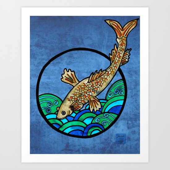 fish in the blue Art Print