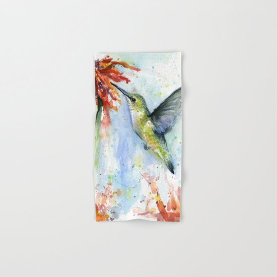 Hummingbird Red Flower Watercolor Bird Hand & Bath Towel