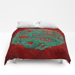 Wooden Jade Dragon Carving on Red Background Comforters