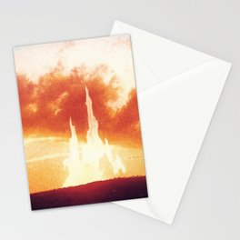 Sunset castle city in the clouds Stationery Cards
