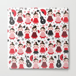 pattern spanish Woman flamenco dancer. Kawaii cute face with pink cheeks and winking eyes. Metal Print