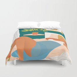 Not Today, Woman Lazy Sleepy llustration, Plant Lady At Home, Bohemian Decor Weekend Sunday Sleep In Duvet Cover
