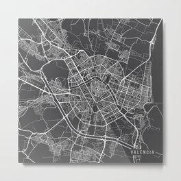 Valencia Map, Spain - Gray Metal Print