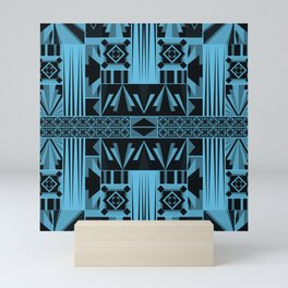 Art Deco Abstract Pastel Pattern Blue Mini Art Print