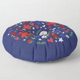 Holiday Bird & Poinsettias Floor Pillow