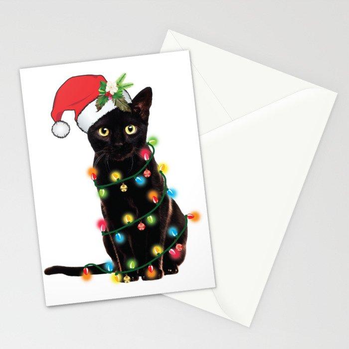 Santa Black Cat Tangled Up In Lights Christmas Santa Graphic Stationery Cards