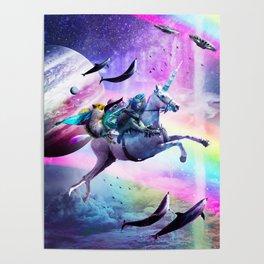 Bearded Dragon Frog Squirrel On Rainbow Unicorn Poster
