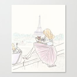 Eiffel Tower Pleated Cuddles with Yorkie Dog and Cat Canvas Print