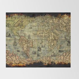 Vintage Old World Map Throw Blanket