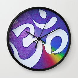 Mantra ... Aom in white Wall Clock