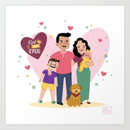 Personalized Illustratiom for Fathers Day Art Print