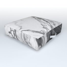 Black & White Divided Abstract Outdoor Floor Cushion