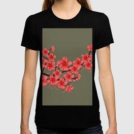 red oriental sakura flower T-shirt