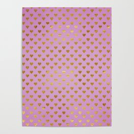 Gold Hearts Passion Pink Poster