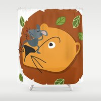 leon Shower Curtains featuring Mouse&Leon by Lara Savoia