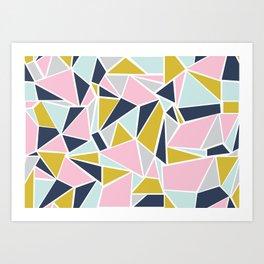 Colour Blocking Navy Pink Mustard Art Print
