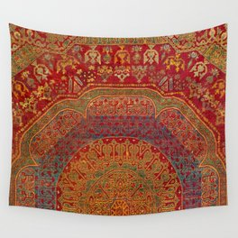 Bohemian Medallion VI // 15th Century Old Distressed Red Green Blue Coloful Ornate Rug Pattern Wall Tapestry