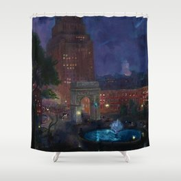 American Masterpiece 'Wet Night, Washington Square, Greenwich Village, NY' by John French Sloan Shower Curtain