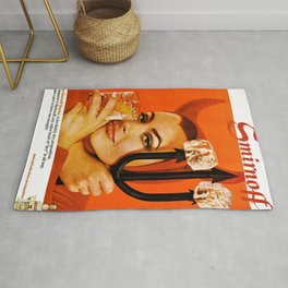 Vodka Martini, A devilishly dry proposition Vintage Pitchfork - Devil Advertisement Poster Rug