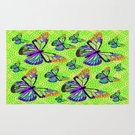 Purple Butterflies Migration over Green Fields Rug