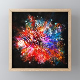 lionfish splatter watercolor Framed Mini Art Print