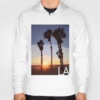 santa monica Hoodies featuring LA: Santa Monica Beach by Adam Stuart