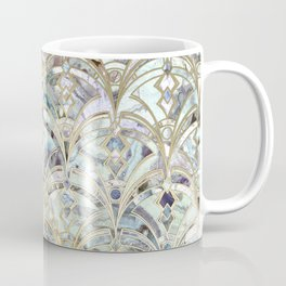 Pale Bright Mint and Sage Art Deco Marbling Coffee Mug