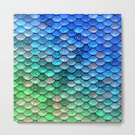 Aqua Teal & green shiny mermaid glitter scales Metal Print