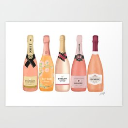 Rose Champagne Bottles Art Print