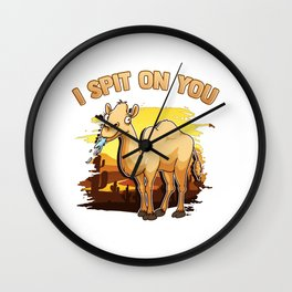 Cute & Funny I Spit On You Llama Pun Llama Lovers Wall Clock